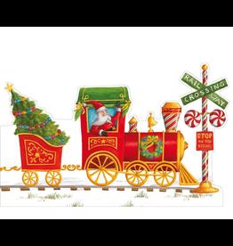 Caspari Christmas Advent Calendar LG Holiday Express Train 16x9 inch
