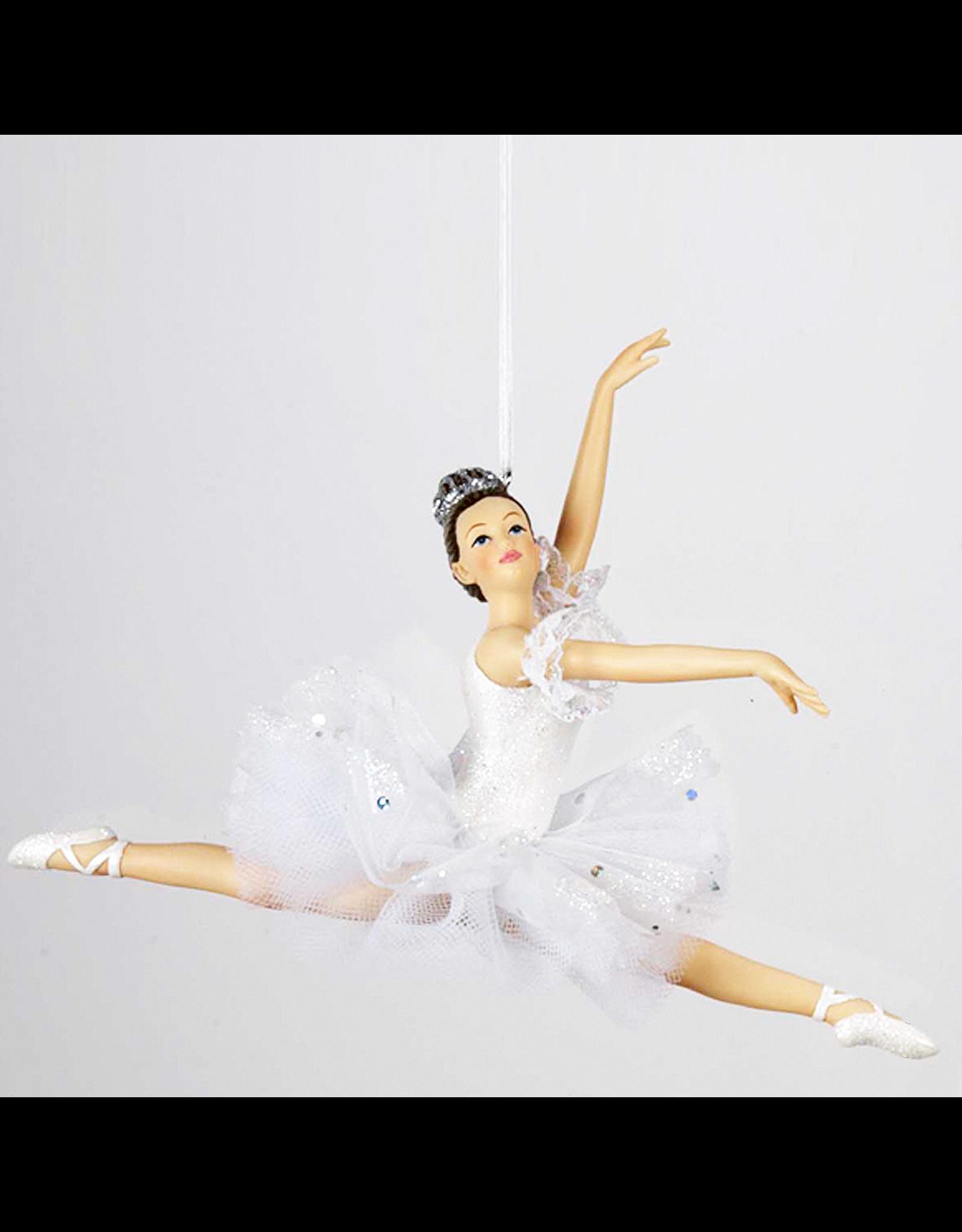Kurt Adler Ballerina Leaping Christmas Ornament White Tutu