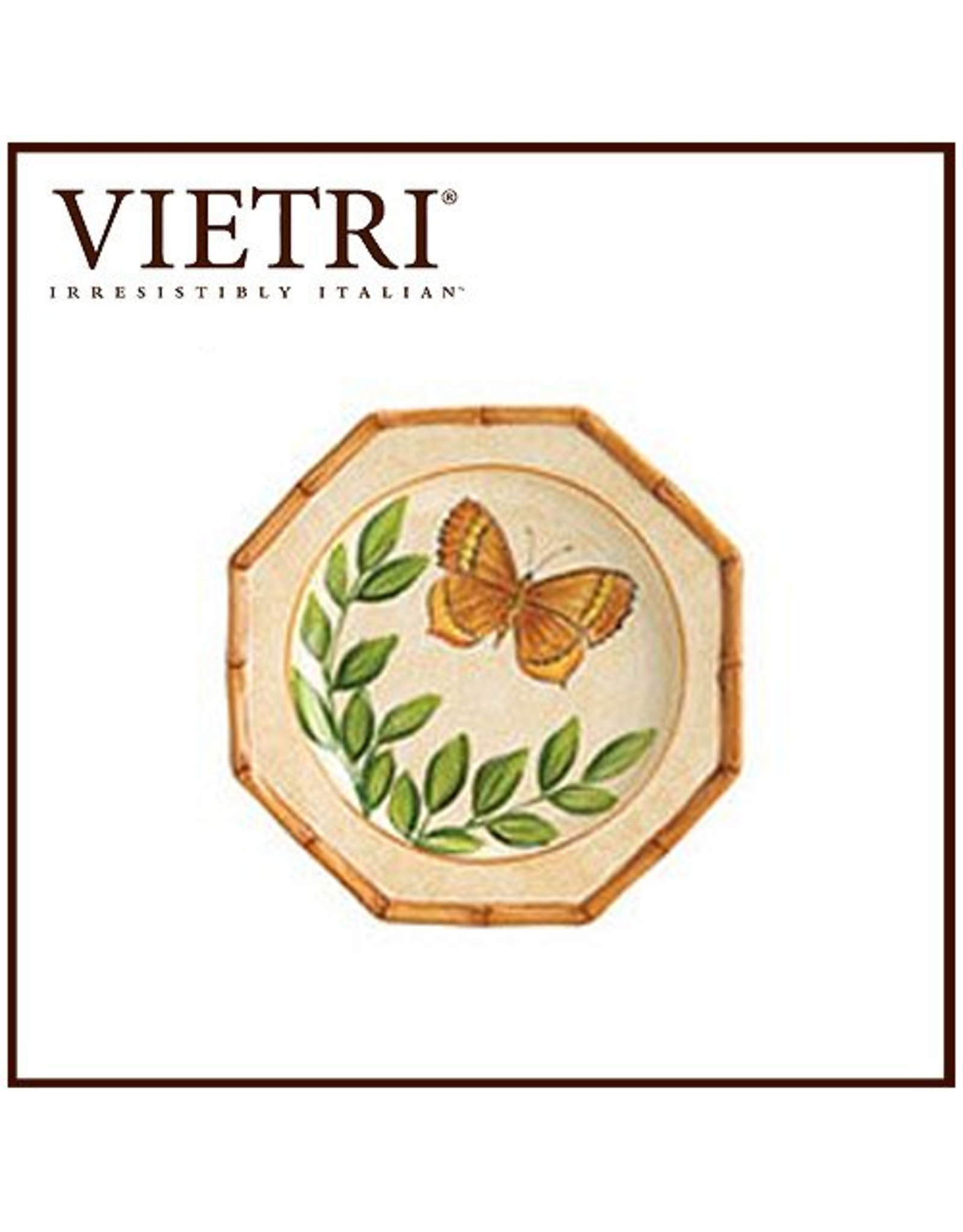 Bamboo Garden Salad Plate With Butterfly Gold Yellow