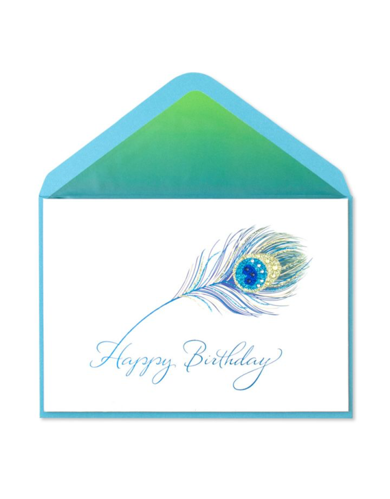 PAPYRUS® Birthday Card Glittery Peacock Feather with Gems
