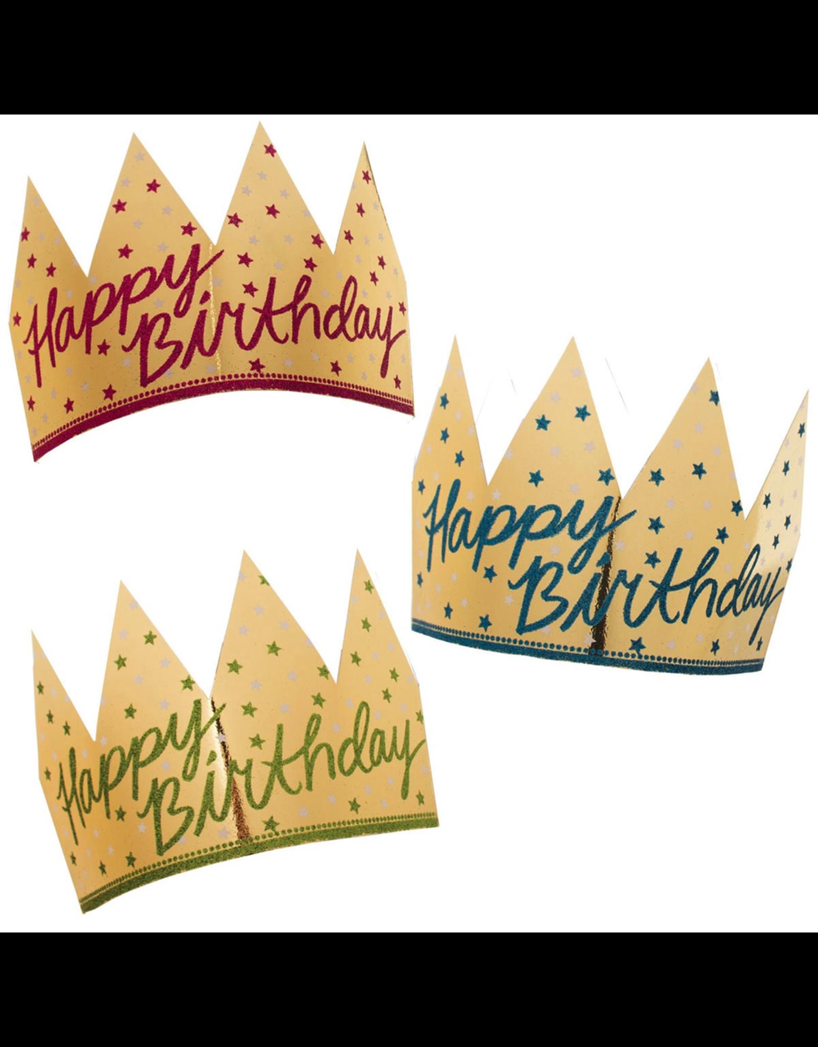 Happy Birthday Crowns 6pk Gold Foil w Glitter