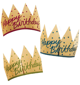 Gold Foil Glittered Happy Birthday Crowns 6pk