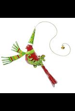 Festive Bird Hanging Ornament Red