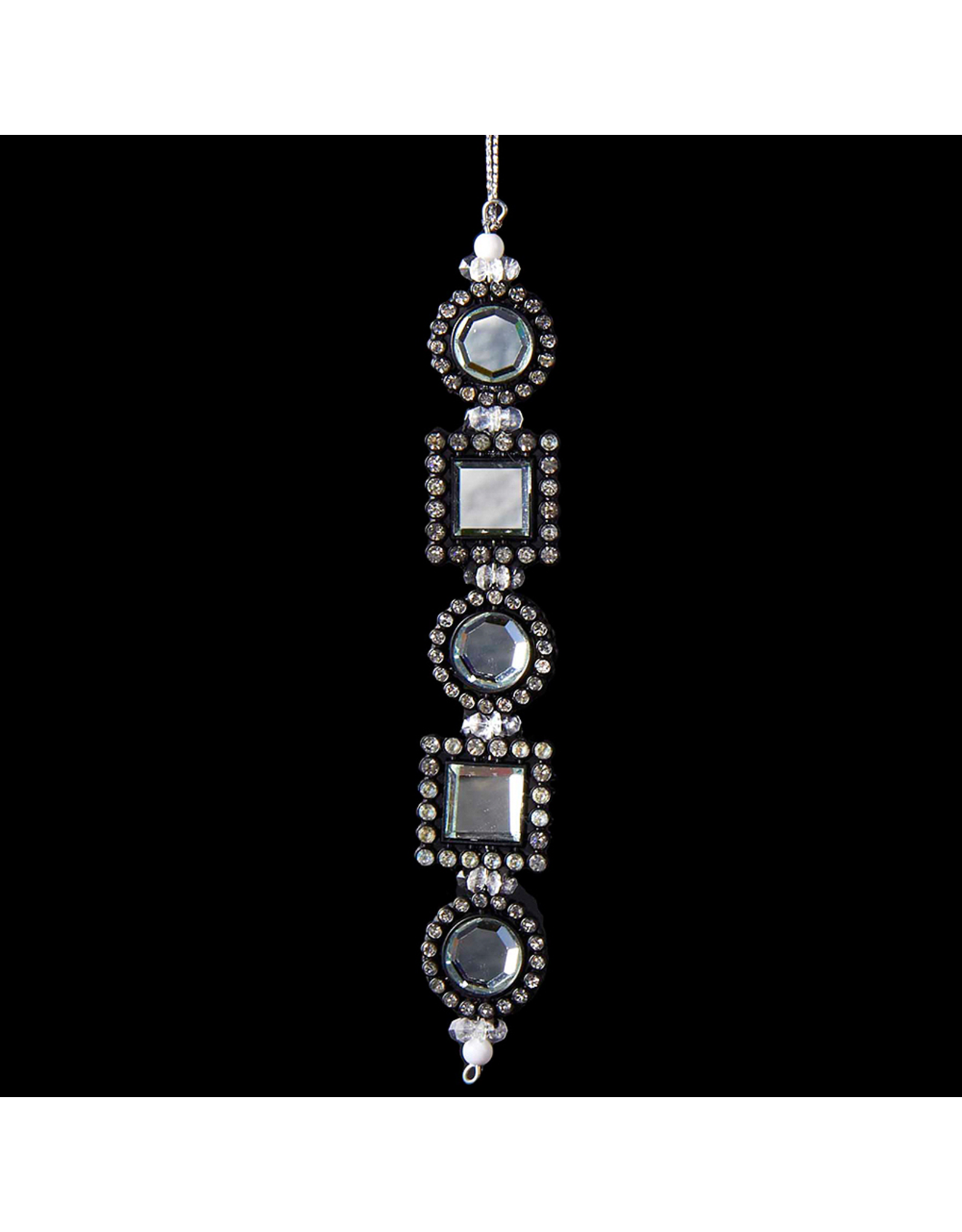 Kurt Adler Black and Silver Gemstone Ornament Square Round -B