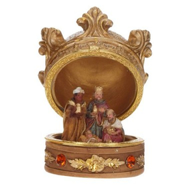 Crown Box Nativity 3 Kings W Baby Jesus Table Decoration
