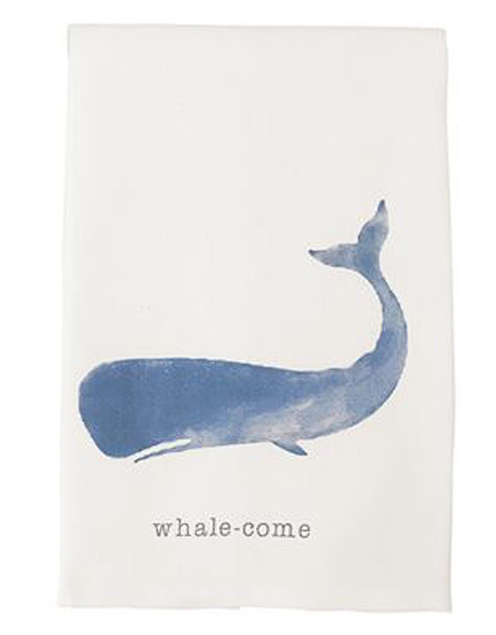 Mud Pie Beach House Nautical Dish Towel w Whale - Whale-come