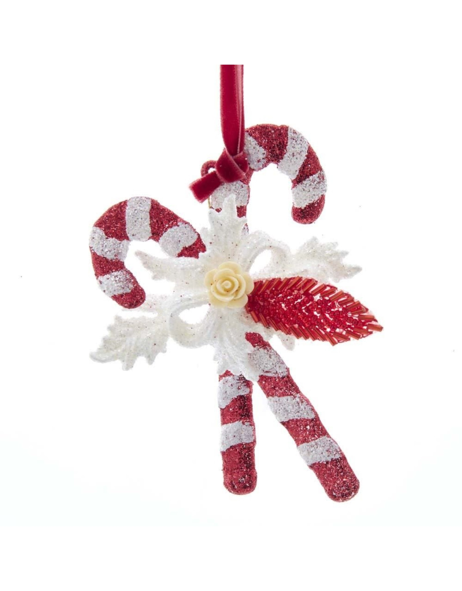 Kurt Adler Red And White Glitter Candy Cane Ornament