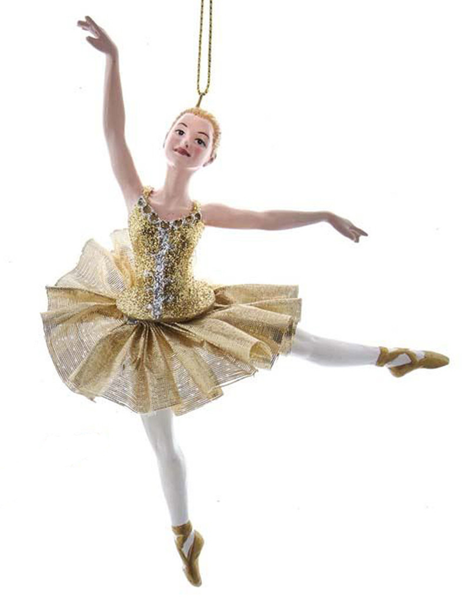 Kurt Adler Ballerina Christmas Ornament Metallic Gold Arabesques A