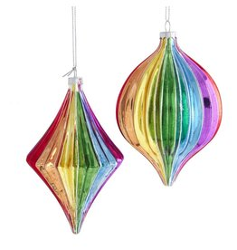Kurt Adler Glass Rainbow Finial Pride Ornaments Set of 2