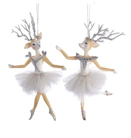 Kurt Adler Reindeer Ballerina Christmas Ornament SET
