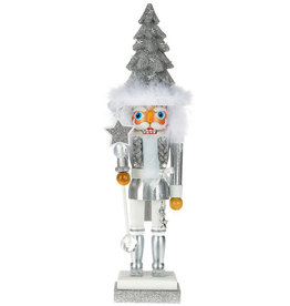 Kurt Adler Hollywood Christmas Tree Hat Nutcracker Silver 17H