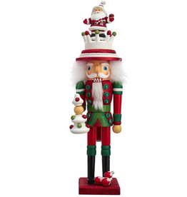 Kurt Adler Hollywood Santa Hat Holding Christmas Tree Nutcracker 17H