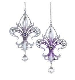 Kurt Adler Royal Splendor Purple Silver Fluer De Lis Ornament Set of 2