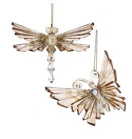 Kurt Adler Shiny Gold Acrylic Glitter Gem Butterfly Dragonfly Ornament Set