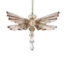 Kurt Adler Shiny Gold Acrylic Glitter Gem Dragonfly Ornament