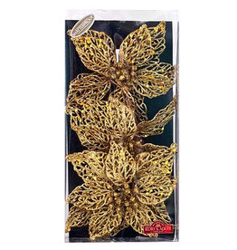 Kurt Adler Glitter Christmas Flowers W Clips 8 Inch 3pc Box Set GOLD