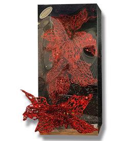 Kurt Adler Glitter Christmas Flowers W Clips 8 Inch 3pc Box Set RED