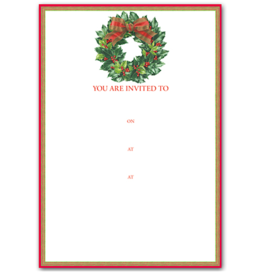 Caspari Holiday Party Invitations Holly Wreath Invites 8pk
