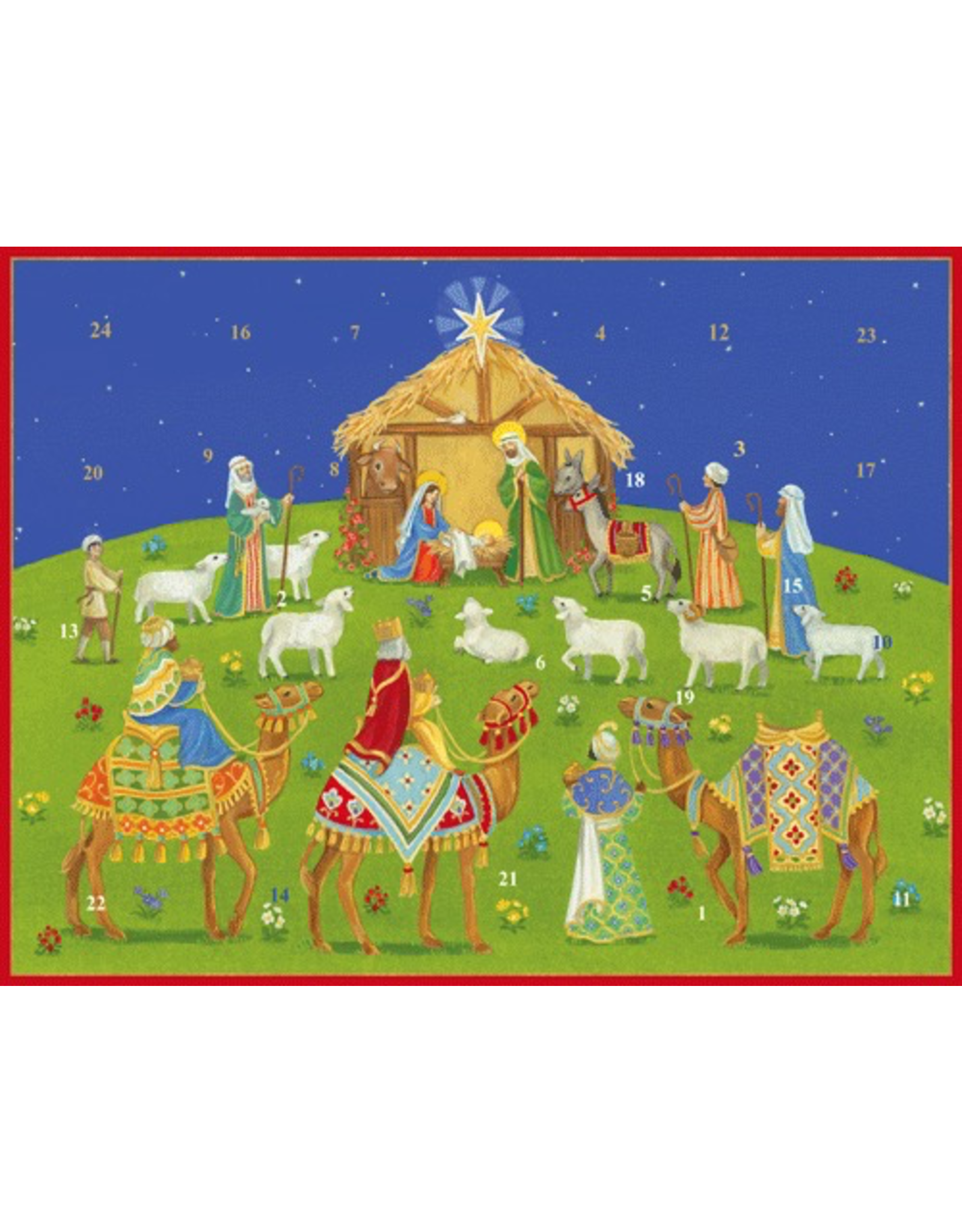 Caspari Advent Calendar Nativity Under the Christmas Sky