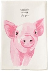 Mud Pie PIG Farm Animals Dish Towel Welcome To Our Pig Pen