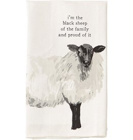 Mud Pie SHEEP Farm Animals Dish Towel I'm The Black Sheep Of The Family