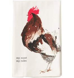 Mud Pie ROOSTER Farm Animals Dish Towel My Roost My Rules