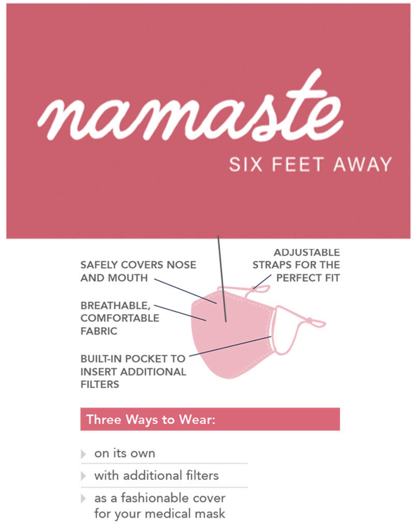 Care Cover™ Protective Face Mask Namaste Six Feet Away