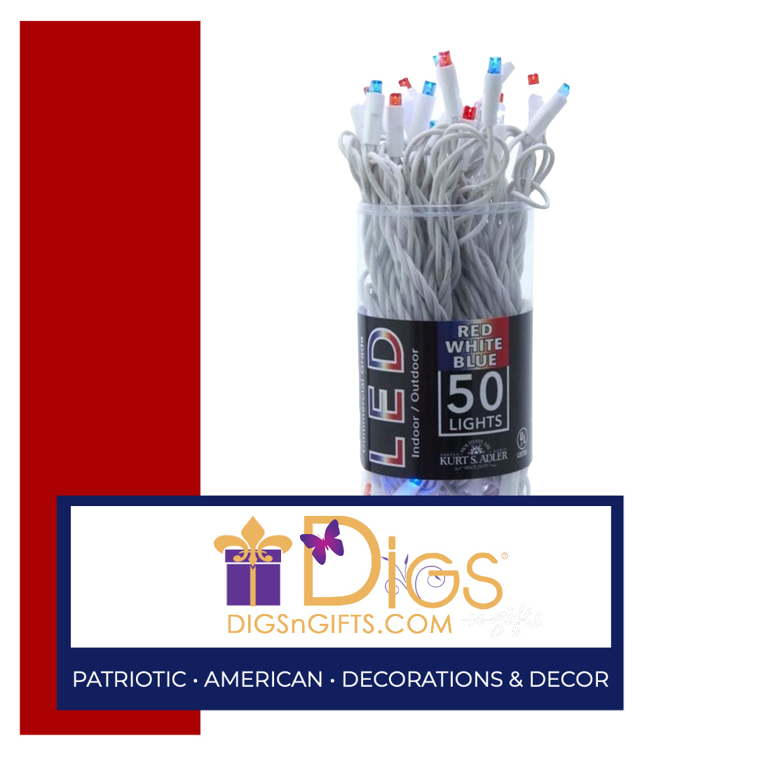 Red White and Blue String Lights Set 50 Vibrant LED Lights for showing American Pride!