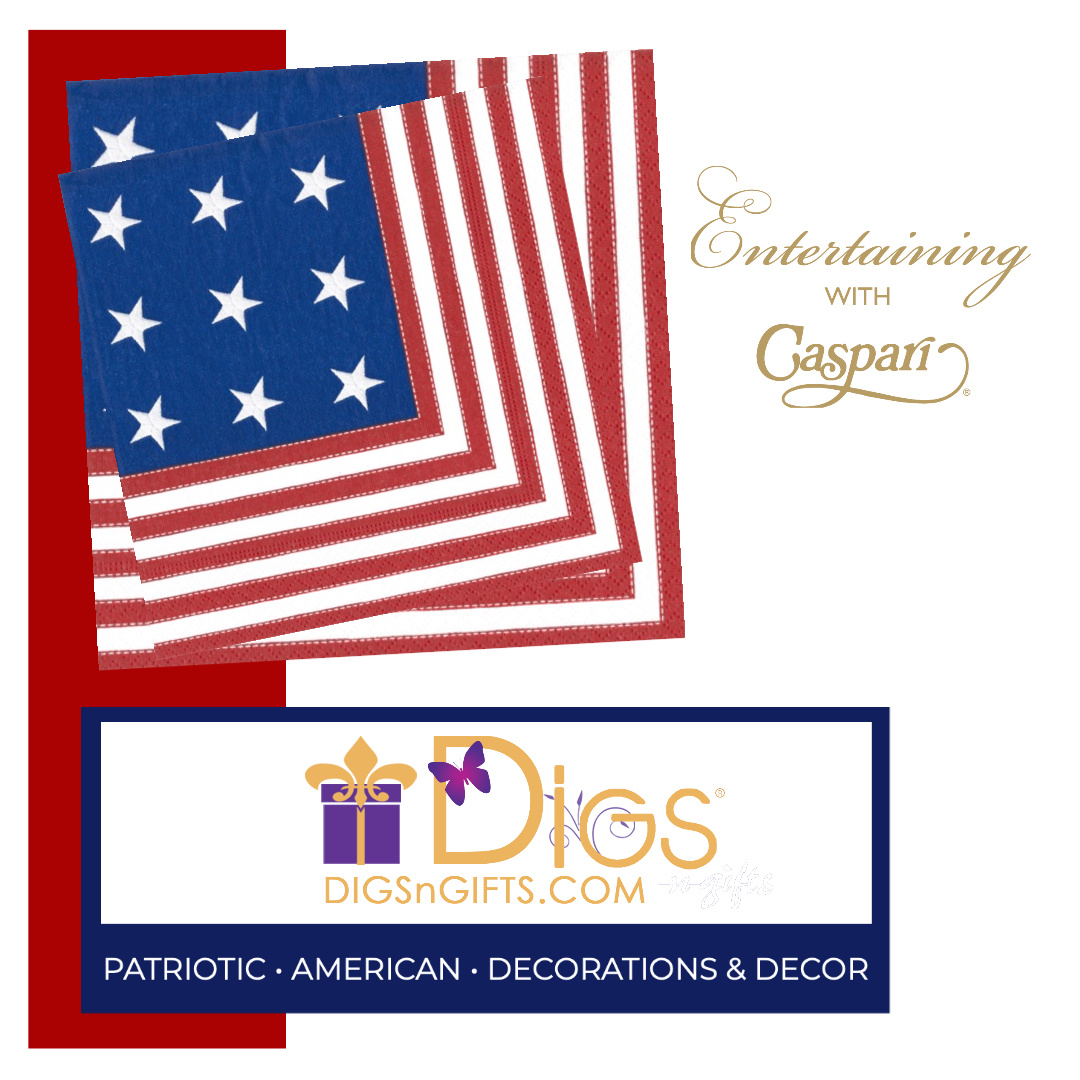 Patriotic Americana July 4th Caspari Napkins and Paper Plates