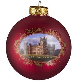 Kurt Adler Downton Abbey Red Castle Glass Ball Christmas Ornament