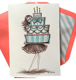 PAPYRUS® Birthday Card Girl Holding Cake Bella Pilar