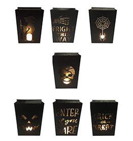 Darice Halloween Luminaries Lights 7pc Set Black Metal Luminary Lights