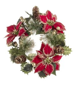 Darice Red Gold Poinsettia Mini Wreath Candle Ring 13 Inch Fits 6 Inch Pillar