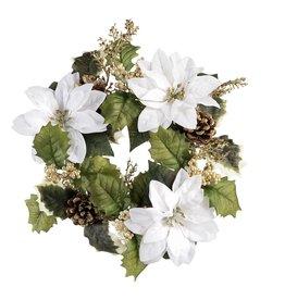 Darice White Poinsettia Mini Wreath Candle Ring 13 Inch Fits 6 Inch Pillar