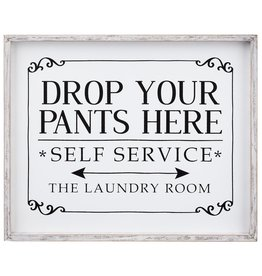 Darice Drop Your Pants Framed Laundry Room Sign 17x14 Inch