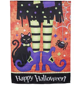Darice Happy Halloween Witch Legs With Cat House Flag 28x40 Inch