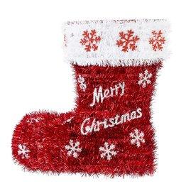 Darice Santa Boot Tinsel Shoe Basket W Merry Christmas