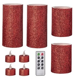 Darice LED Red Glitter Flameless Wax Pillar Candle Set 9Pk W Remote