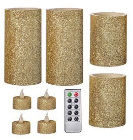 Darice LED Gold Glitter Flameless Wax Pillar Candle Set 9Pk W Remote