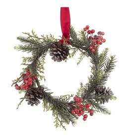 Darice Small Cedar Wreath W Berries And Pinecones 8 Inch