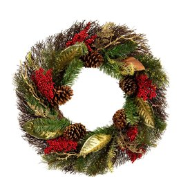 Darice Pine Wreath with Red Berries and Gold Accents 24 Inch