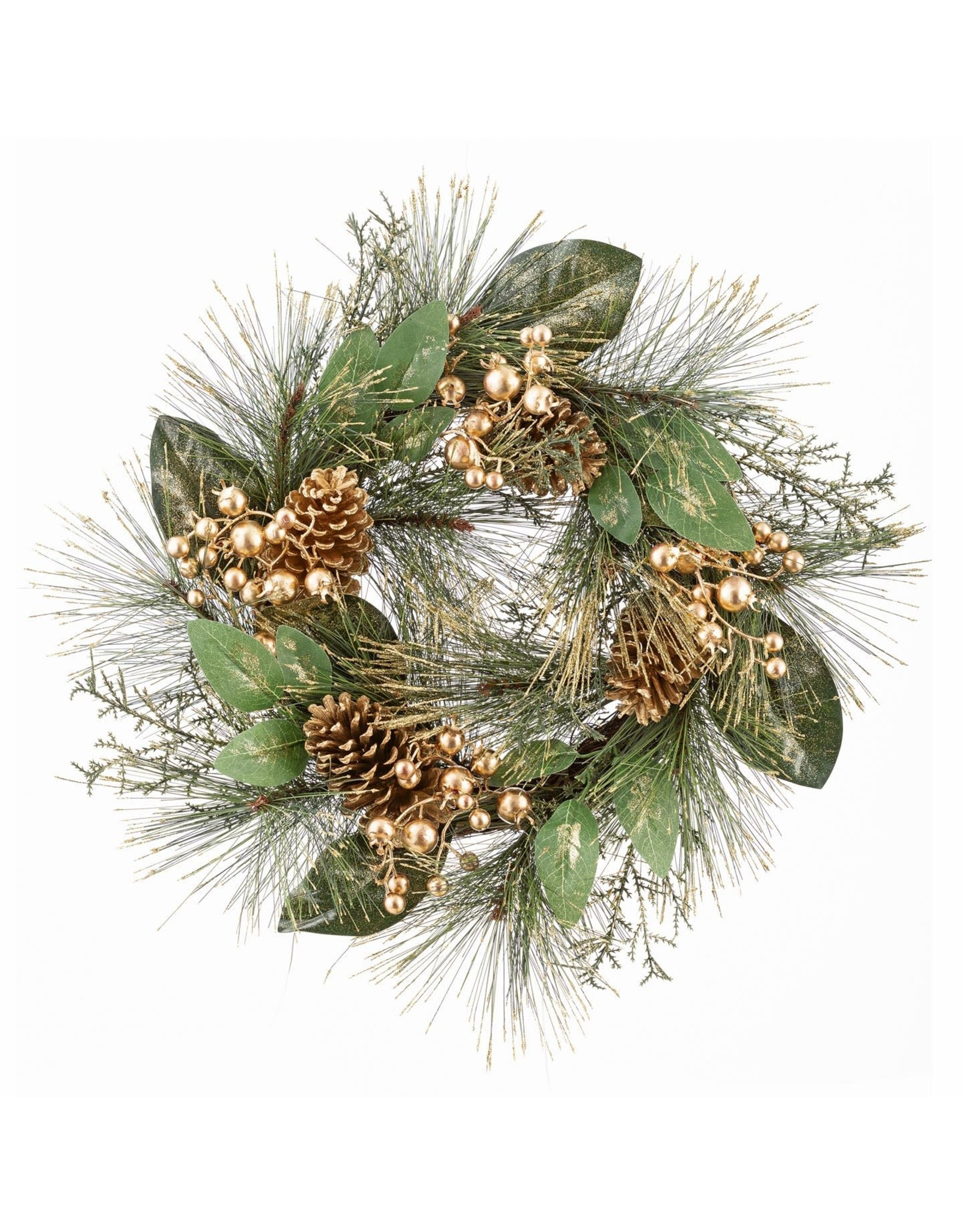 Darice Berries And Pinecones Wreath W Gold Accents 22 Inch