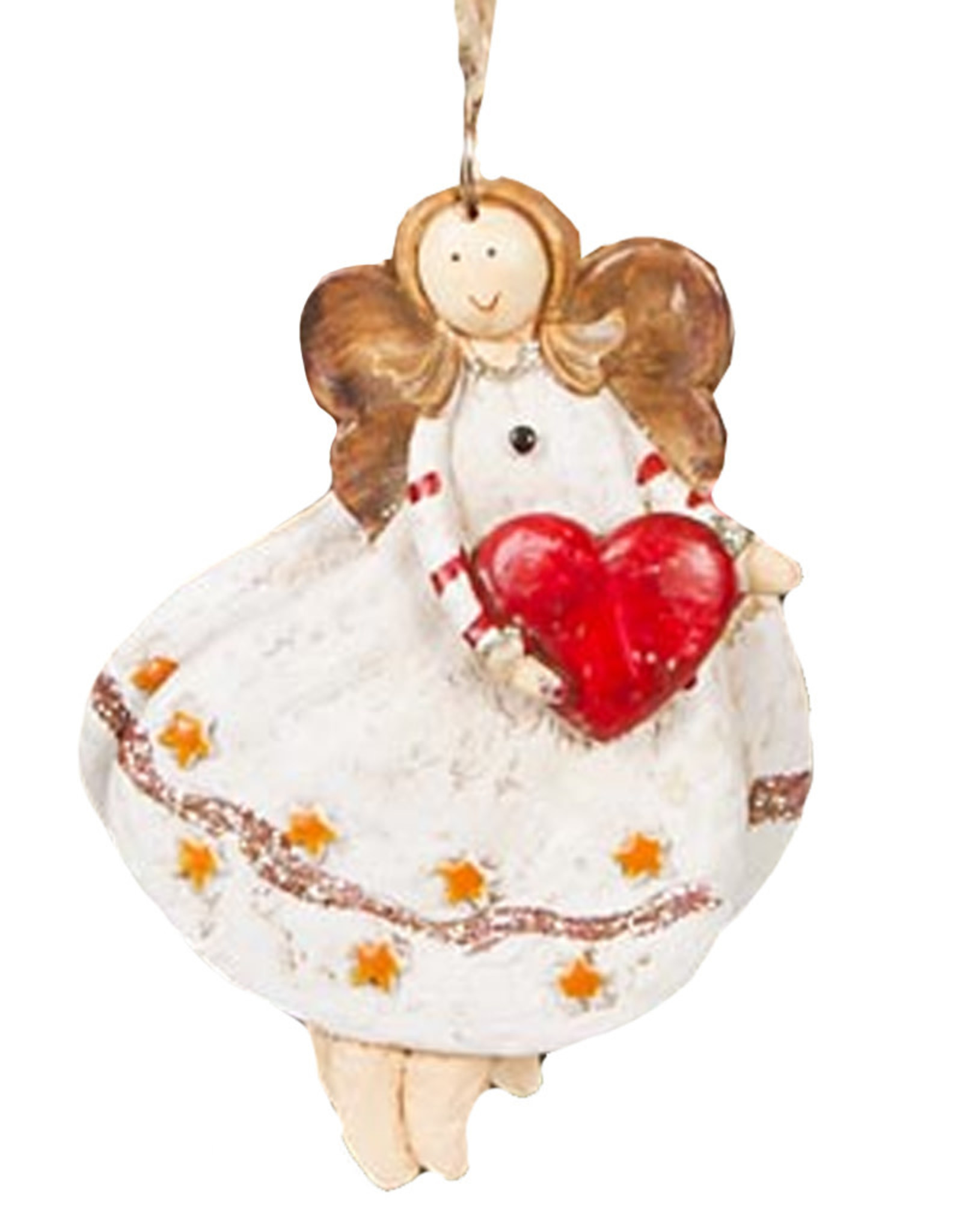 Darice Angel Ornament Holding Heart In Star Dress