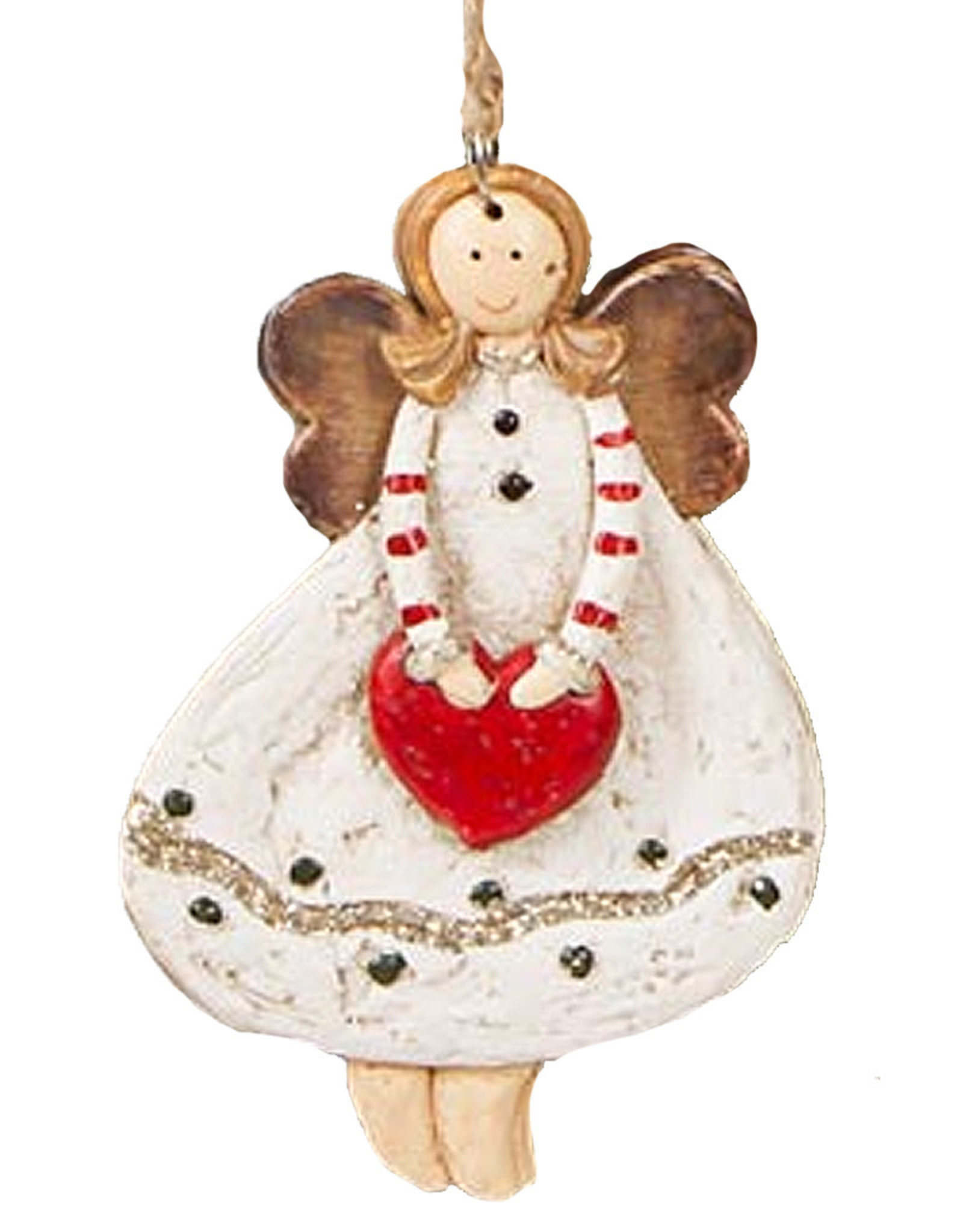 Darice Angel Ornament Holding Heart In Dot Dress