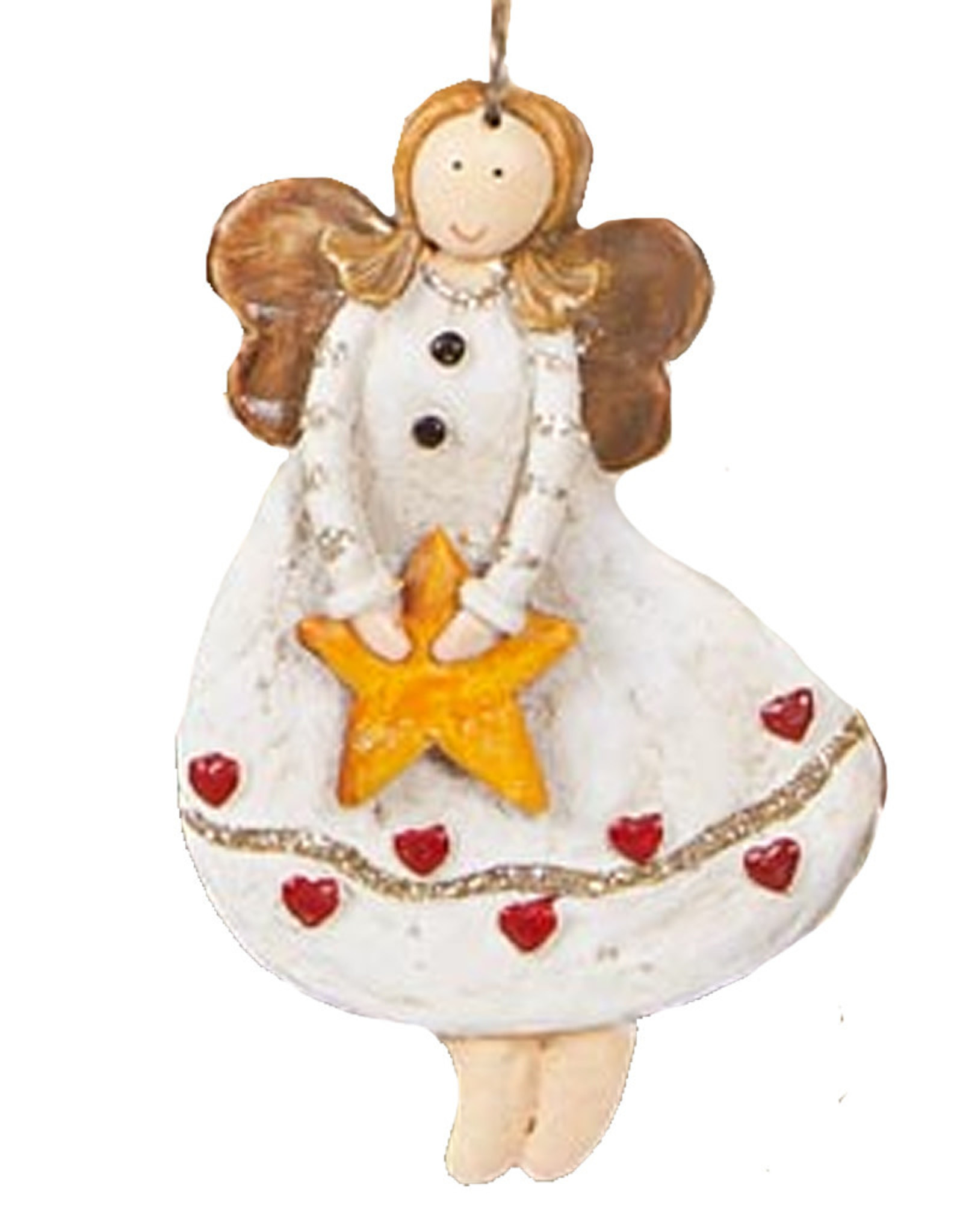 Darice Angel Ornament Holding Star In Heart Dress