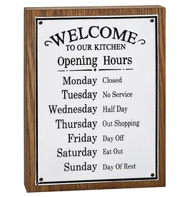 Darice Kitchen Hours Tabletop Shelf Sign 7x9.5 Inch
