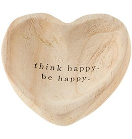 Mud Pie Wood Heart Trinket Tray - Think Happy Be Happy