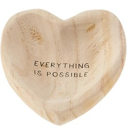Mud Pie Wood Heart Trinket Tray - Everything Is Possible