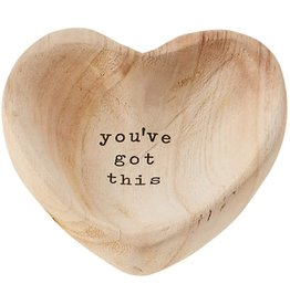 Mud Pie Wood Heart Trinket Tray - You've Got This