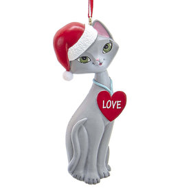 Kurt Adler Gray Cat In Santa Hat And Love Heart Collar Ornament